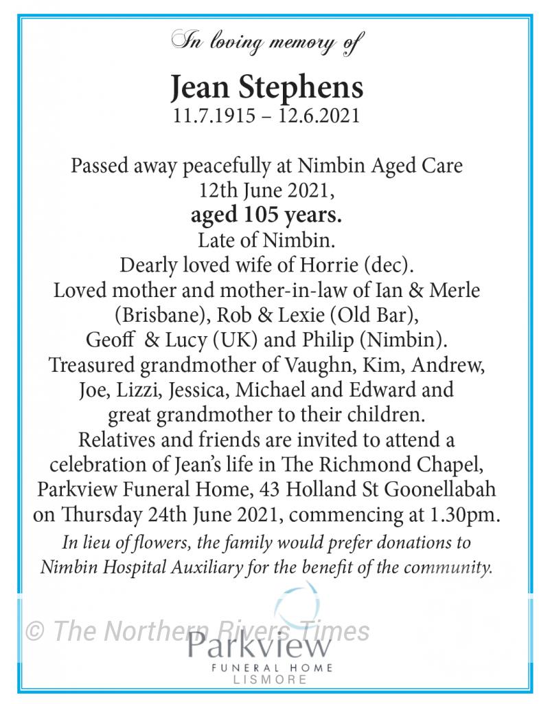 Jean Stephens Funeral Notice