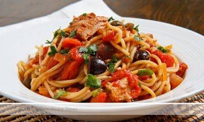 Tuna Pasta with tomatoes, olives and capers