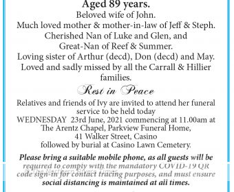 Jane Ivy Carrall Funeral Notice