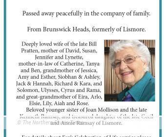 Fay Annette Pratten Funeral Notice