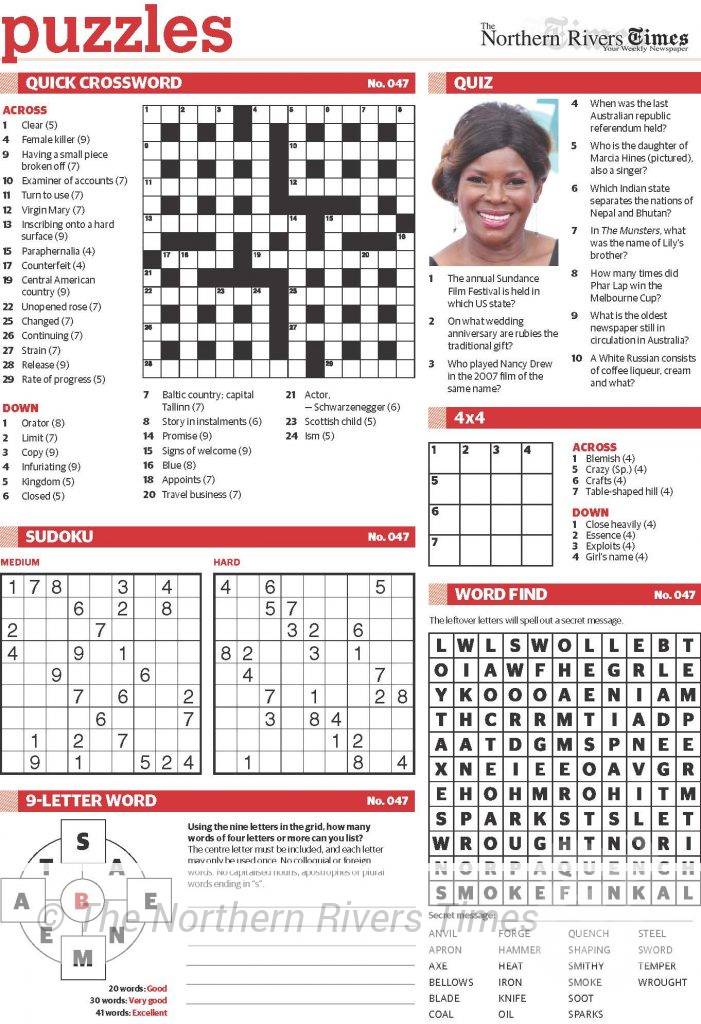 The Northern Rivers Times Edition 49 Puzzle 1