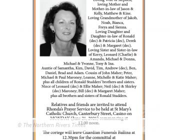 Rhonda Frances Gooley Funeral Notice
