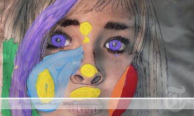 2021 Les Peterkin Portrait Prize - 1st prize (11-13 years) Mahli Burdett with her portrait entitled Colours of Me, Uki Public School.