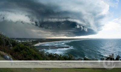 An ominous storm front over Evans Head and Ballina on Friday